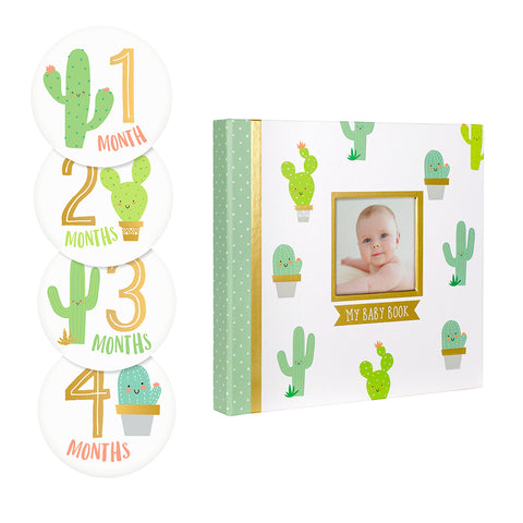 pearhead's cactus baby's memory book and sticker set