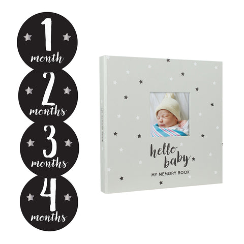 pearhead's baby's memory book and sticker set
