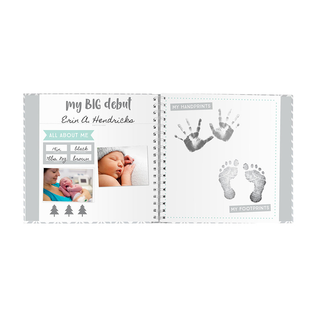 Pearhead Herringbone Baby Memory Book with Included Baby Belly Stickers