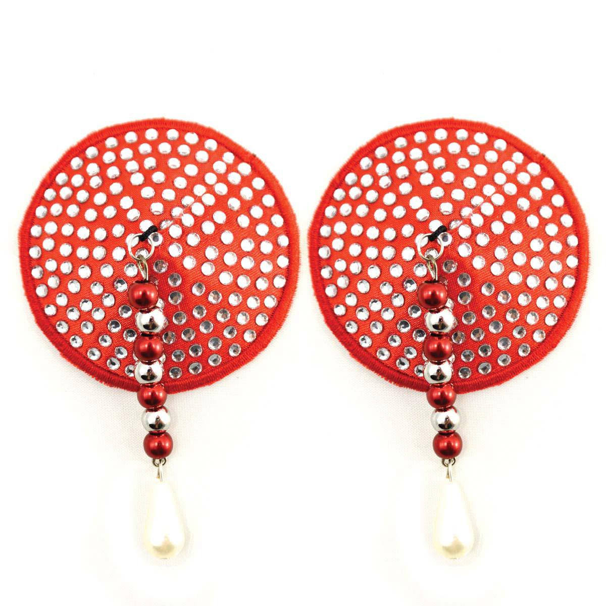 Bijoux de Nip Round Red Crystal Pasties w- Facet Beads