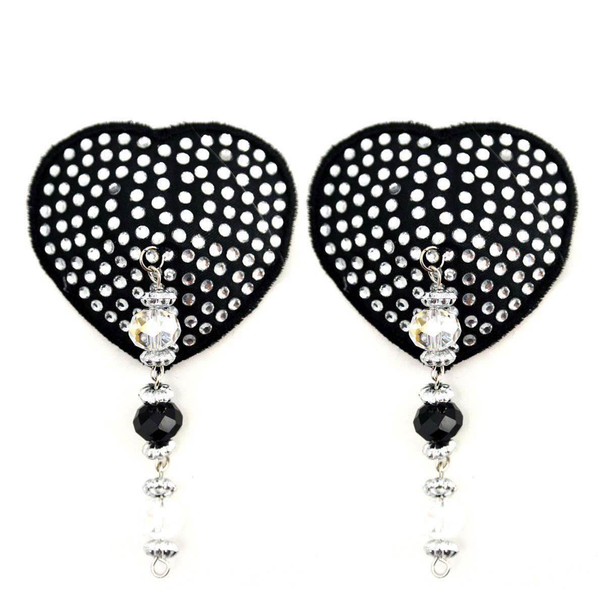 Bijoux de Nip Heart Black Crystal Pasties w- Beads