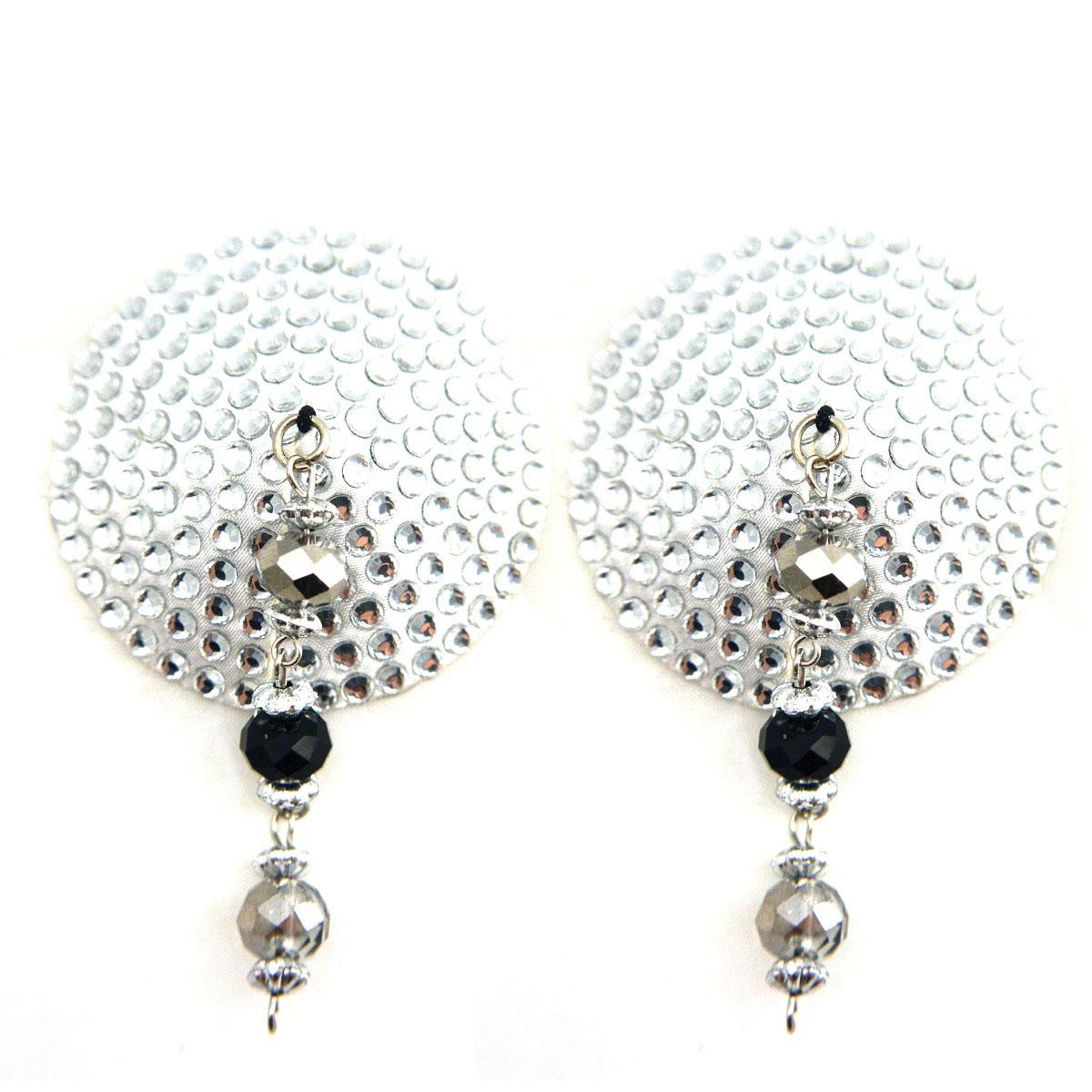 Bijoux de Nip Round Silver Crystal Pasties w- Faceted Beads