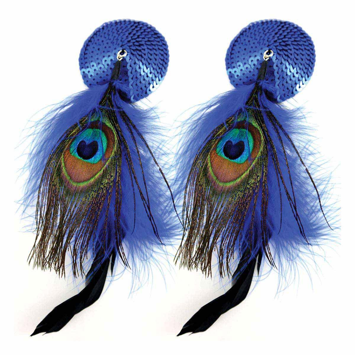 Bijoux de Nip Round Blue Sequin Pasties w- Feathers