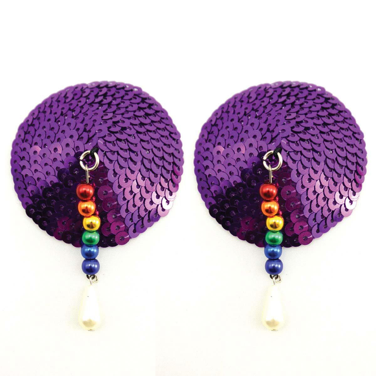 Bijoux de Nip Round Purple Sequin Pasties w- Rainbow Beads