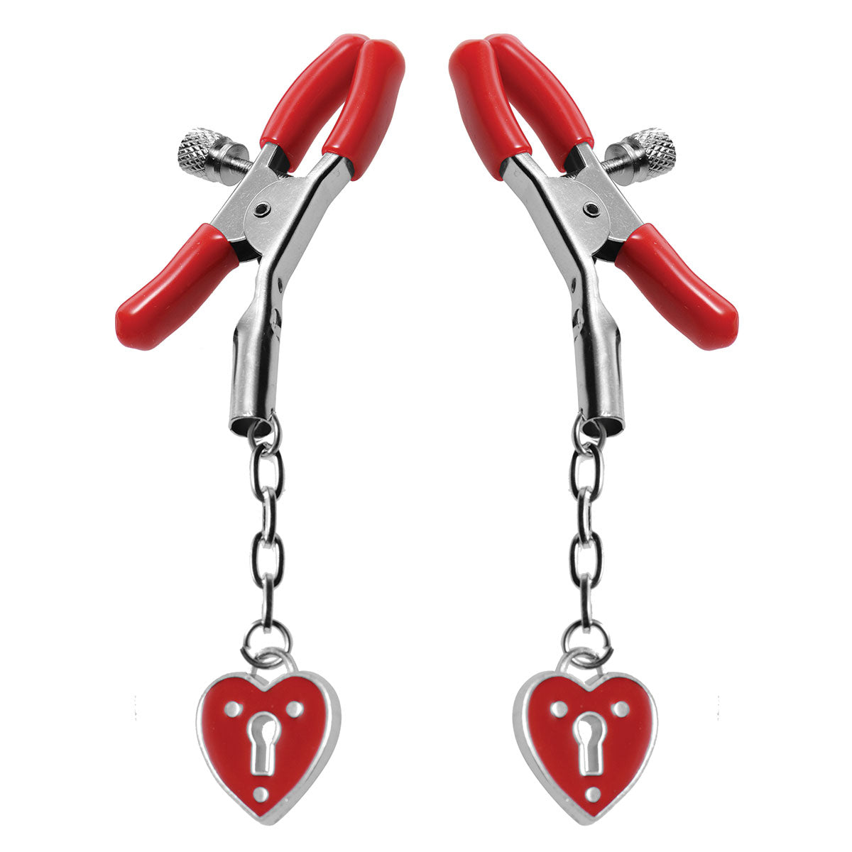 Heart Padlock Nipple Clamps - Red