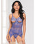 Cross Dye Lace Peek a Boo Chemise w/Attached Garters & G-String Iris