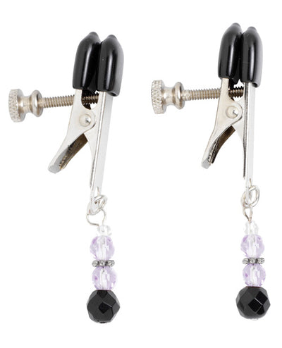 Spartacus Adjustable Broad Tip Nipple Clamps W-purple Beads