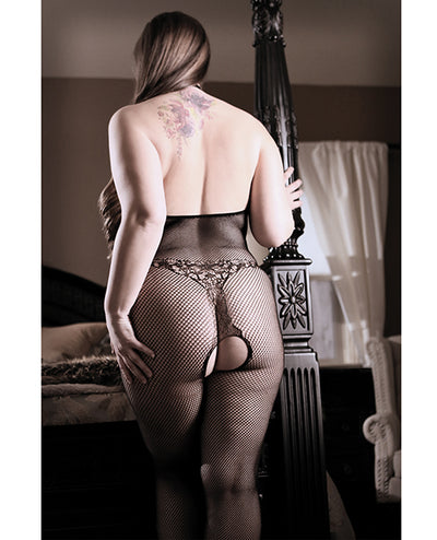 Sheer Fantasy Lace Halter Bodystocking W-ornate Tattoo Detail Black Qn