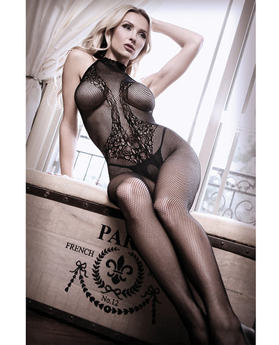 Sheer Fantasy Lace Halter Bodystocking W/ornate Tattoo Detail Black O/s