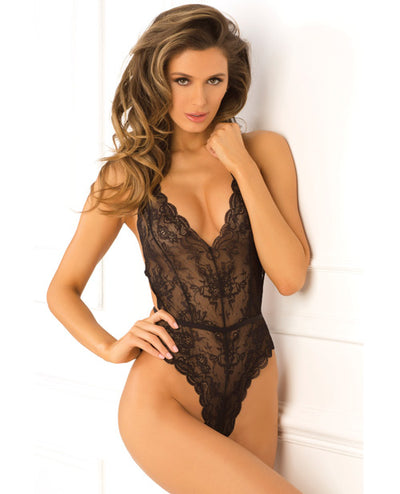 Rene Rofe Strap Back Lace Teddy Black
