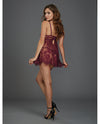 Eyelash Lace Babydoll w/Underwire Cups & Lace Thong Mulberry