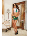 4 Pc Stretch Mesh Halter Crop Top W/attached Tie, Mini Skirt, Glasses & Ruler Green Plaid
