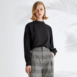 Small Collar Lantern Sleeve Shirt Top