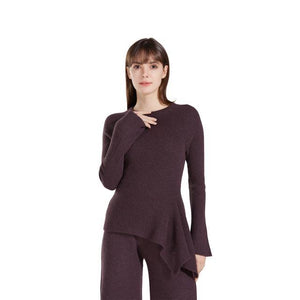 100% Pure Cashmere Knitted Ladies Crew Neck Long Dress Pullover