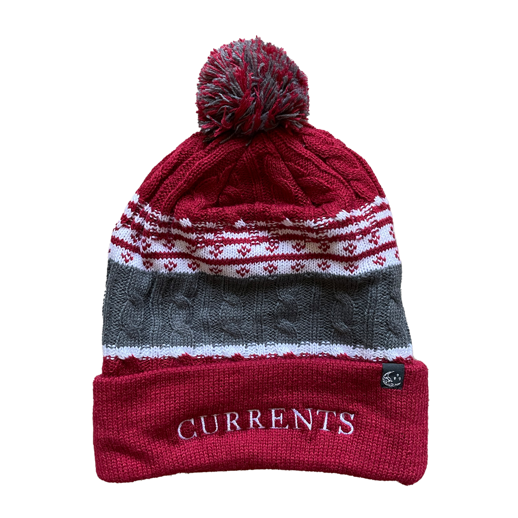 Embroidered Pom Pom Beanie