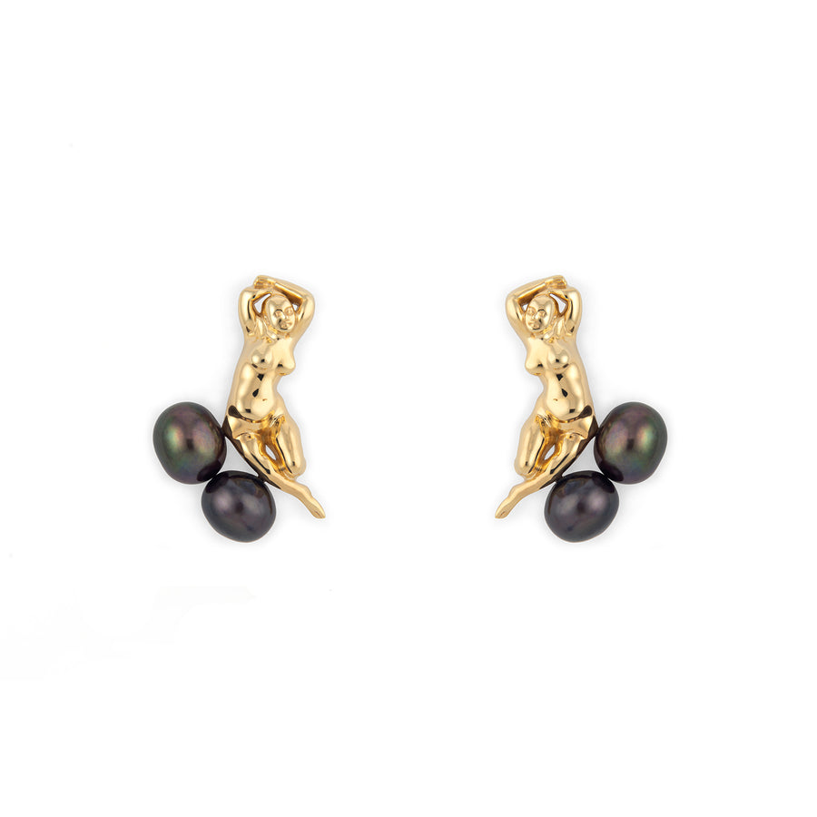 Angelou Earrings with Black Pearls