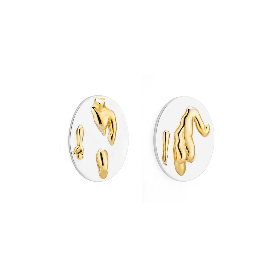 Paola Vilas, earrings, sterling silver, gold, feminine, masculine, Berthe