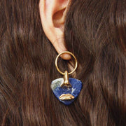 Paola Vilas, earrings, Breton, marble, gold, feminine, mouth, nose, hoop