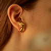 Paola Vilas, earrings, gold, Eva, feminine, body