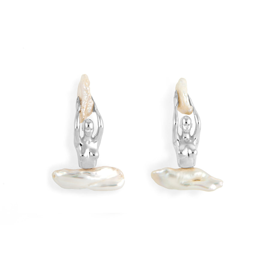 Paola Vilas, earrings, body, feminine, pearl, women, jewel, jewelry, sterling silver