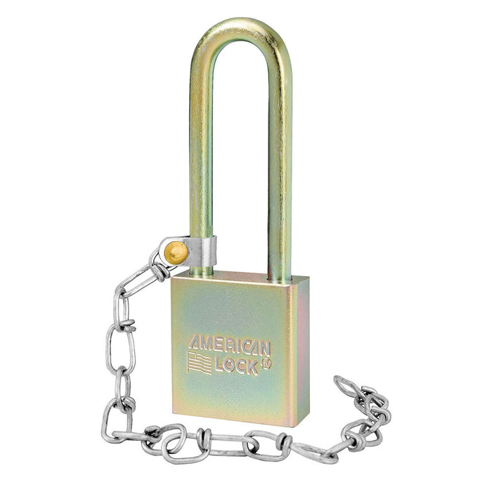 1-3/4in (44mm) Solid Steel BumpStop® Rekeyable Pin Tumbler Government Padlock with 3in (76mm) Shackle with Attached Chain-AmericanLocks.com
