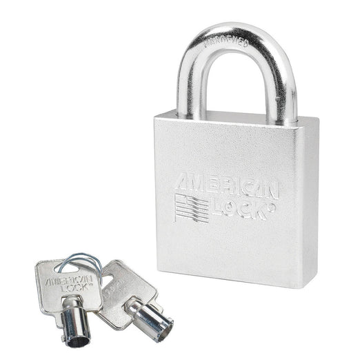 American Lock A7300 Solid Steel (Chrome Plated) Padlock 2-1/4in (57mm) wide 1-1/8in tall shackle-AmericanLocks.com