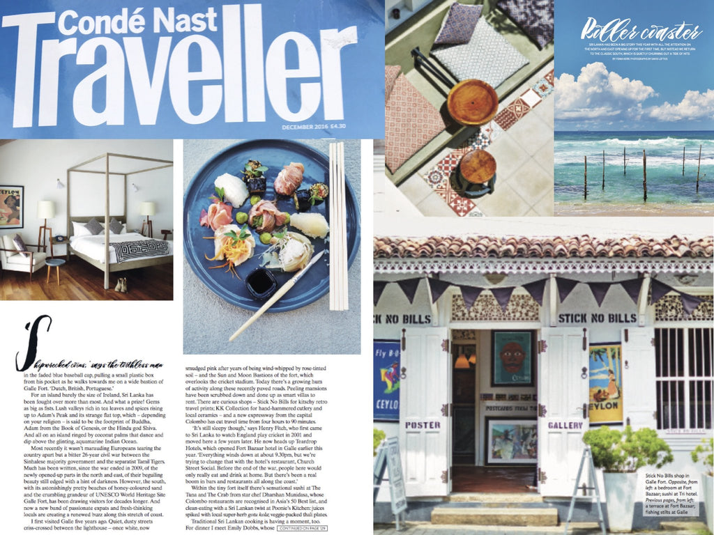 "Condé Nast Traveller on Stick No Bills® ""kitschy retro travel prints"" (December 2016)"
