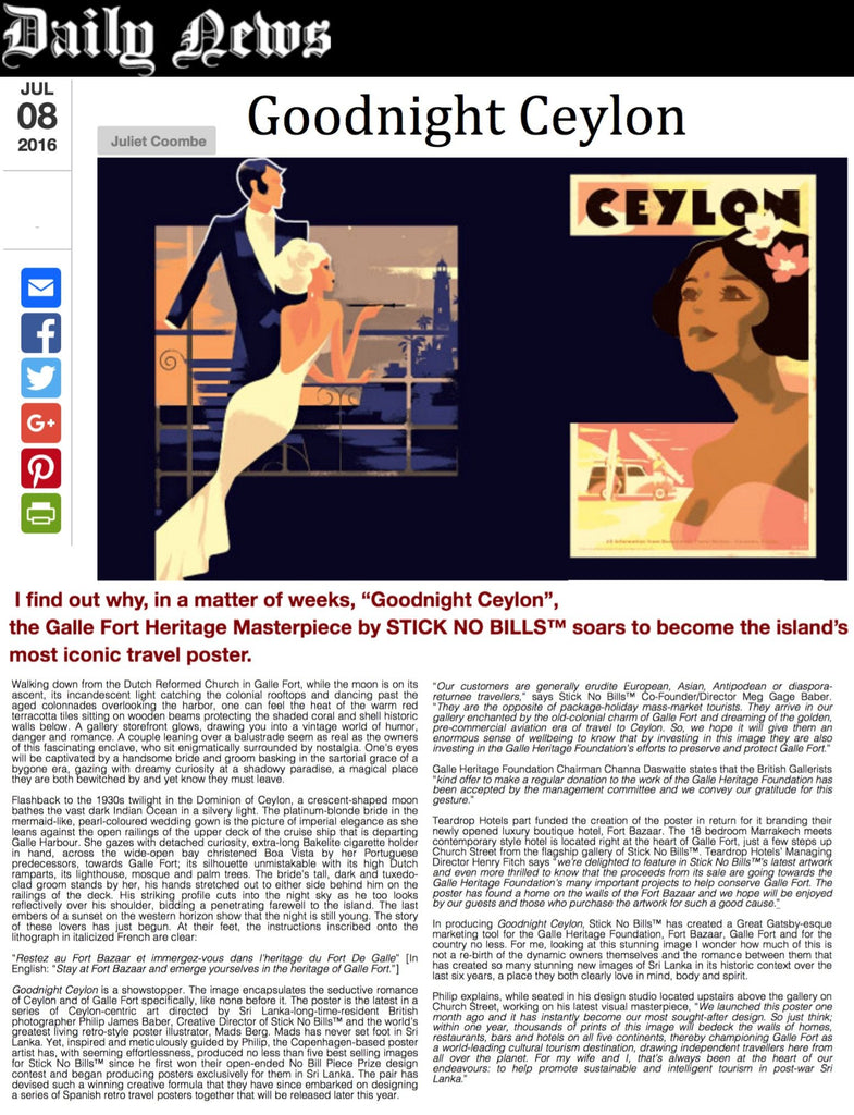 """Good Night Ceylon"" Masterpiece Soars To Become Most Iconic Travel Poster - Daily News (Sri Lanka)"