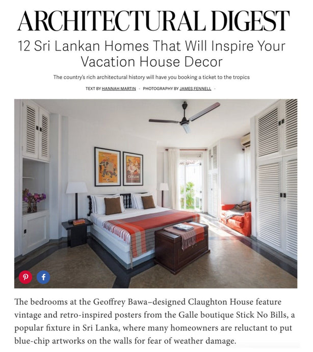 Architectural Digest highlights Stick No Bills® posters in June 2016 article on interior design in Sri Lanka