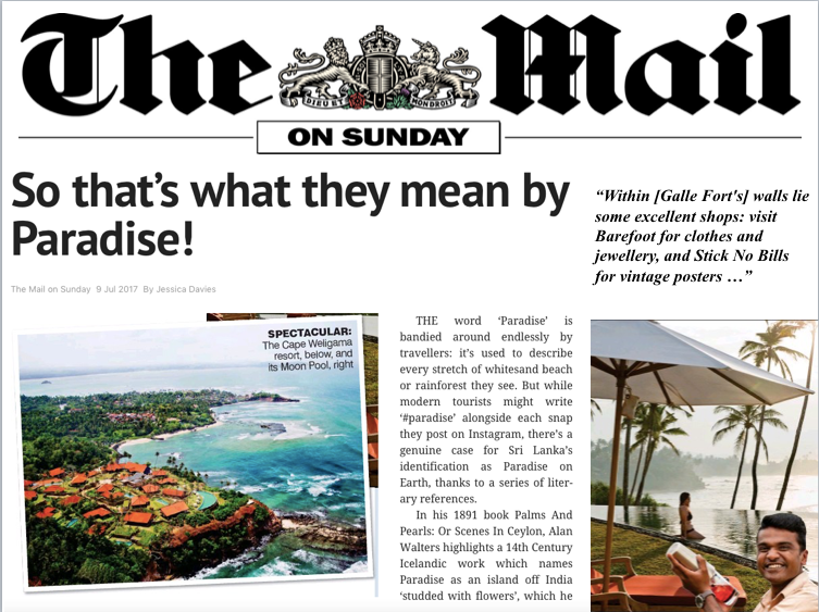 Britain's The Mail On Sunday highlights Barefoot and Stick No Bills® as 'excellent shops' of Galle Fort