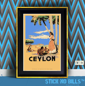 Beautifully framed open edition A1 Stick No Bills poster of a couple of friends enjoying the beaches in Sri Lanka/Ceylon.