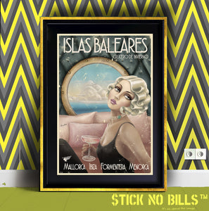Image of a beautiful framed Open Edition Super A1 Stick No Bills poster of a lady in the 1920s.