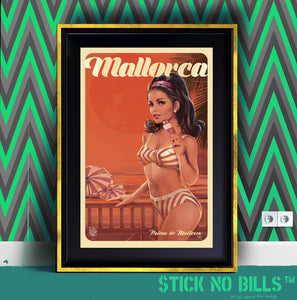 Stunning framed Stick No Bills open edition A1 poster of a lady in the mid-1900s enjoying an ice cream.