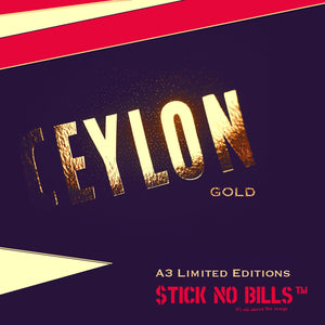 Collection of Stick No Bills™ Ceylon / Sri Lanka unframed vintage prints and posters with foil inlay
