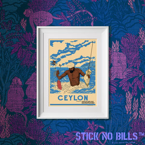 Framed open edition A3 Stick No Bills poster of a man fishing in Sri Lanka/Ceylon.