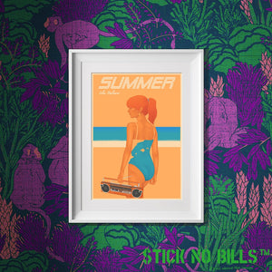 Image of a framed Open Edition A3 Stick No Bills poster of a lady in a swimsuit listening to music on her radio.