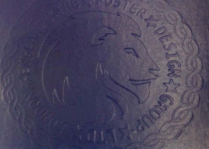 The Poster Design Group embossing seal, depicting a lion