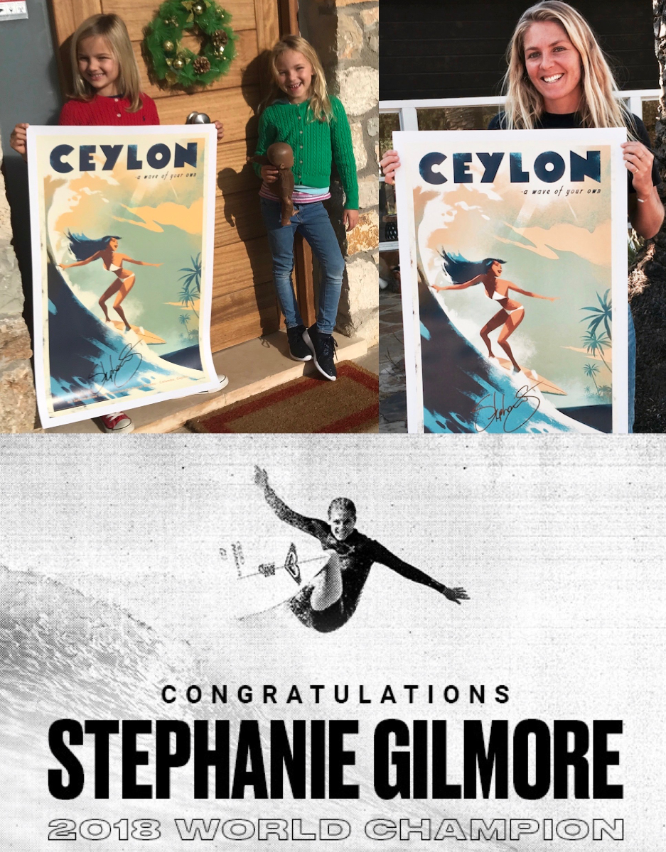 Surf champion Stephanie Gilmore signing Wave of Her Own, Ceylon poster in support of Sri Lankan Wildlife Society