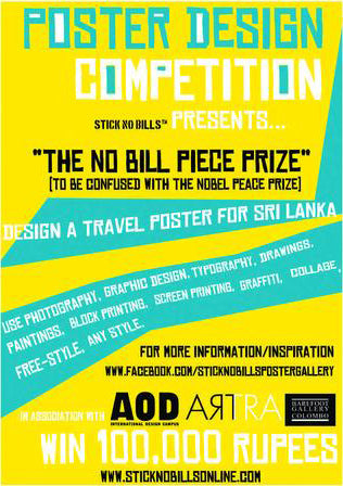 Poster for the competition, The No Bill Peace Prize