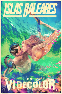 Foiled travel poster of a couple diving in Islas Baleares and sharing a kiss, amidst beautiful fish.