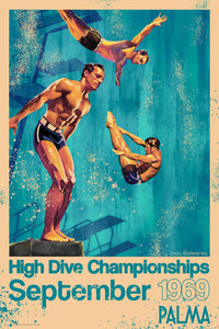 Foiled travel poster in blue of a diver doing his routine in the 1960s High Dive Championships.