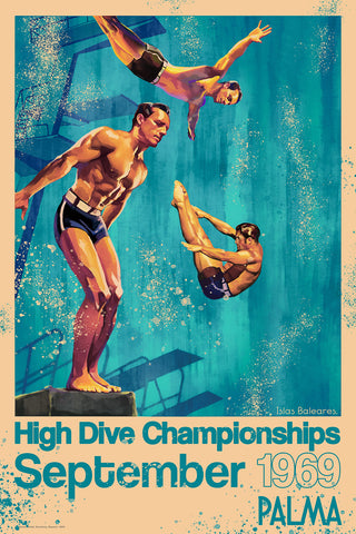 A3 travel poster in blue of a diver doing his routine in the 1960s High Dive Championships.