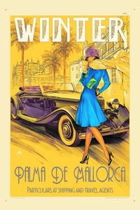 A1 travel poster of a woman in blue in 1920, scarf blowing in the winter wind, in front of convertible.