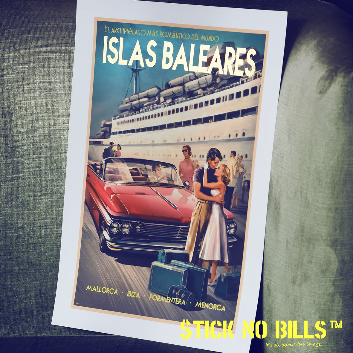 Foiled travel poster of a couple embracing next to their convertible with a cruise ship in the background.