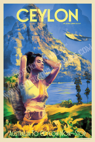 A1 travel poster of Ceylon with Adam's Peak in the background and a woman in a yellow Sari picking Tea.