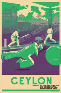 A1 travel poster in green and white shades about a fielder diving to take a catch at Galle Cricket Club.