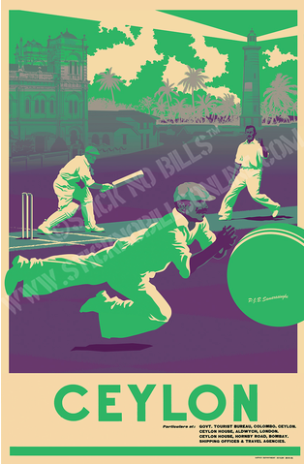 Foiled travel poster in green and white shades about a fielder diving to take a catch at Galle Cricket Club.