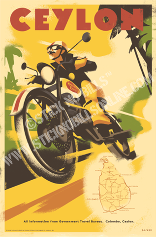 Foiled travel poster of a motorcyclist racing over the dusty roads along the pristine coastline of Ceylon.