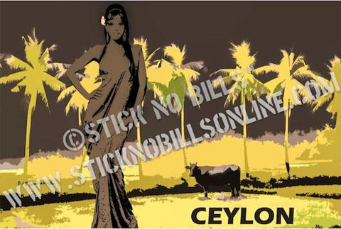 A1 travel poster in grey and yellow of a lady in traditional wear and Rekawa Lagoon in the background.