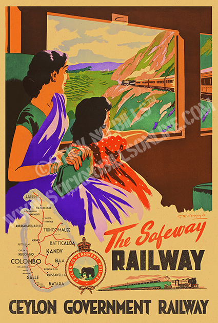 Foiled travel poster of a mother and daughter looking out of a window on the Ceylon Safeway Railway train.